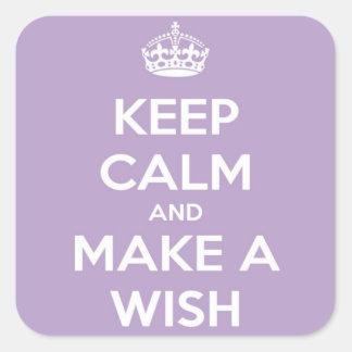 Gardez le calme et faites une lavande de souhait sticker carré