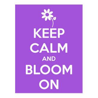 Gardez le calme et fleurissez sur le pourpre cartes postales