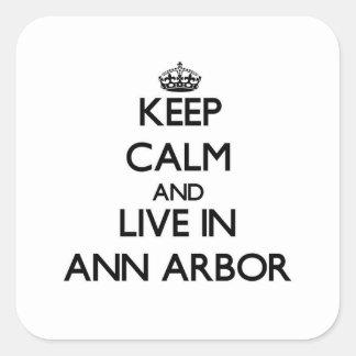 Gardez le calme et habitez à Ann Arbor Sticker Carré