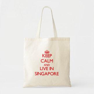 Gardez le calme et habitez à Singapour Sac De Toile