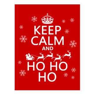 Gardez le calme et Ho Ho Ho - Noël/Père Noël Carte Postale