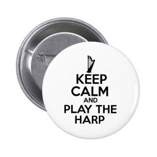 Gardez le calme et jouez l'harpe badges