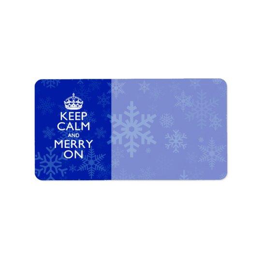 Gardez le calme et joyeux sur les flocons de neige étiquettes d'adresse