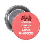 Gardez le calme et la conception de cool de rhinoc badge