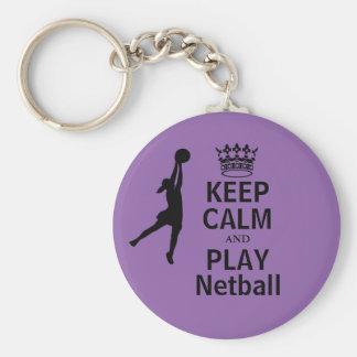 Gardez le calme et la conception de net-ball de porte-clé rond