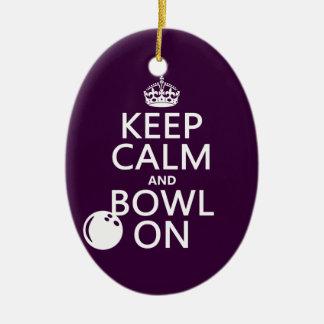 Gardez le calme et la cuvette dessus - toutes les ornement ovale en céramique