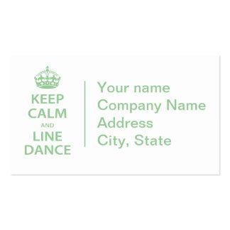 Gardez le calme et la ligne danse cartes de visite personnelles