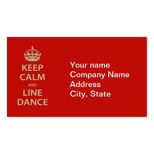 Gardez le calme et la ligne danse modèles de cartes de visite