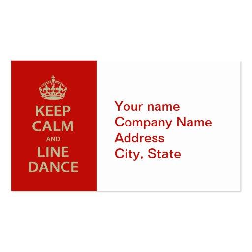 Gardez le calme et la ligne danse cartes de visite professionnelles