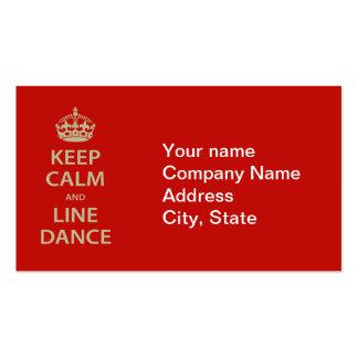 Gardez le calme et la ligne danse carte de visite standard