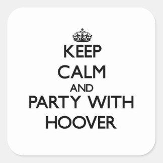 Gardez le calme et la partie avec Hoover Autocollants Carrés