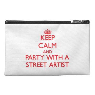 Gardez le calme et la partie avec un artiste de ru trousses à accessoires de voyage