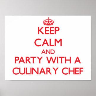 Gardez le calme et la partie avec un chef culinair affiches