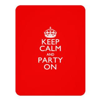 Gardez le calme et la partie sur le rouge carton d'invitation 10,79 cm x 13,97 cm