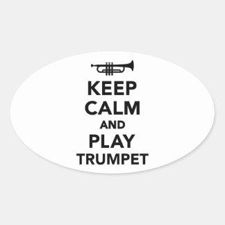 Gardez le calme et la trompette de jeu stickers ovales