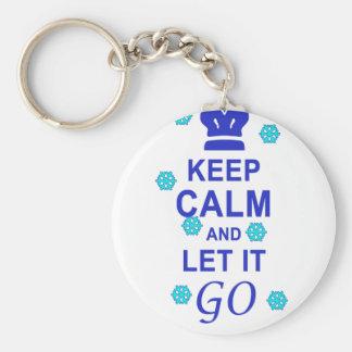 Gardez le calme et laissez-le aller porte-clé rond