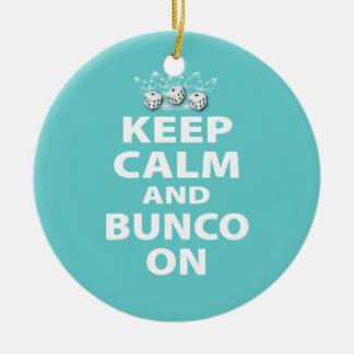 Gardez le calme et le Bunco sur l'ornement drôle Ornement Rond En Céramique