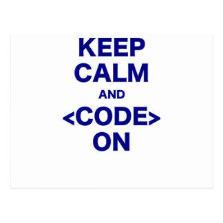 Gardez le calme et le code dessus carte postale