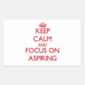 Gardez le calme et le foyer sur ASPIRER Autocollant En Rectangle