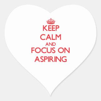 Gardez le calme et le foyer sur ASPIRER Sticker Cœur