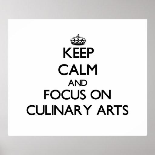 Gardez le calme et le foyer sur des arts culinaire affiche