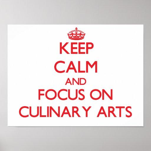 Gardez le calme et le foyer sur des arts culinaire posters