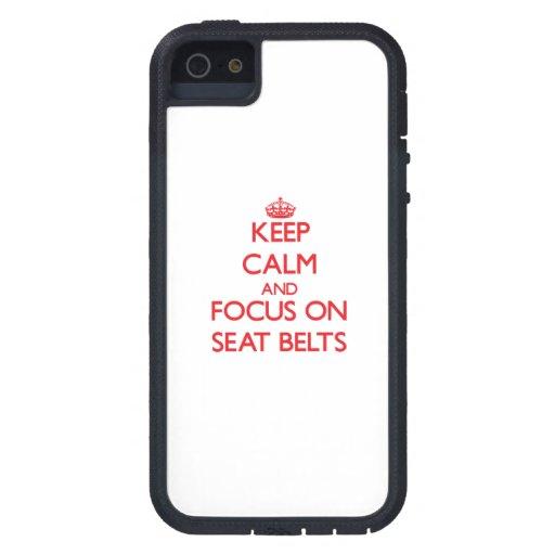 Gardez le calme et le foyer sur des ceintures de étui iPhone 5
