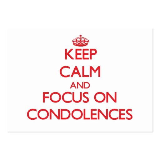 Gardez le calme et le foyer sur des condoléances cartes de visite professionnelles