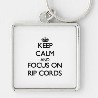 Gardez le calme et le foyer sur des cordes de déch porte-clefs