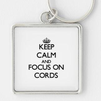 Gardez le calme et le foyer sur des cordes porte-clés