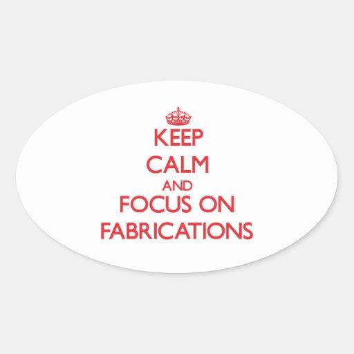 Gardez le calme et le foyer sur des fabrications autocollants ovales