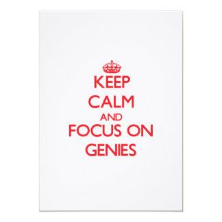 Gardez le calme et le foyer sur des Genies Carton D'invitation 12,7 Cm X 17,78 Cm
