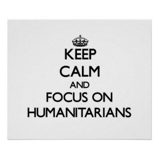 Gardez le calme et le foyer sur des humanitaires affiches