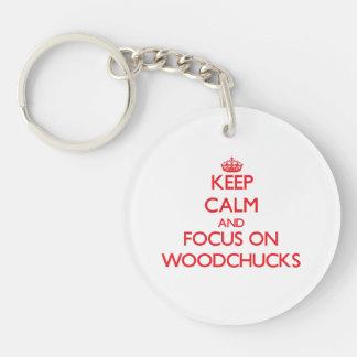 Gardez le calme et le foyer sur des marmottes porte-clé rond en acrylique double face