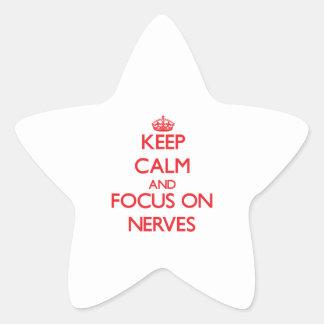 Gardez le calme et le foyer sur des nerfs sticker en étoile
