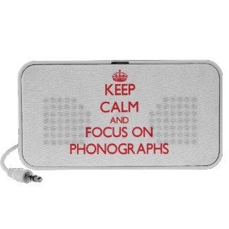 Gardez le calme et le foyer sur des phonographes