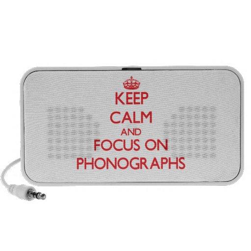 Gardez le calme et le foyer sur des phonographes mini haut-parleur