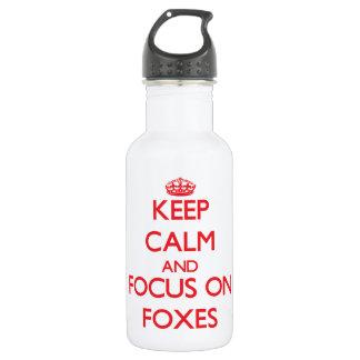 Gardez le calme et le foyer sur des renards