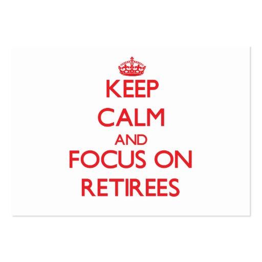 Gardez le calme et le foyer sur des retraités cartes de visite professionnelles