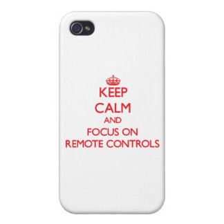 Gardez le calme et le foyer sur des télécommandes étuis iPhone 4
