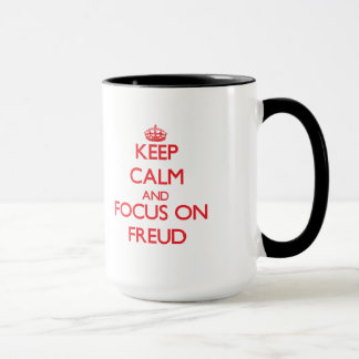 Gardez le calme et le foyer sur Freud Mug