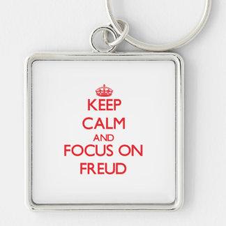 Gardez le calme et le foyer sur Freud Porte-clé Carré Argenté
