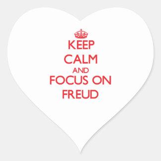 Gardez le calme et le foyer sur Freud Sticker Cœur