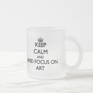Gardez le calme et le foyer sur l art tasses à café