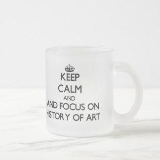 Gardez le calme et le foyer sur l histoire de tasse à café