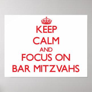 Gardez le calme et le foyer sur la barre Mitzvahs Affiches