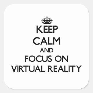 Gardez le calme et le foyer sur la réalité sticker carré