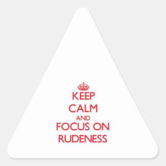 Gardez le calme et le foyer sur la violence sticker en triangle