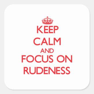Gardez le calme et le foyer sur la violence stickers carrés