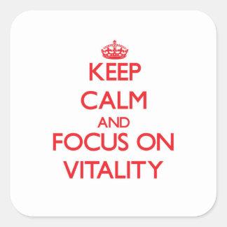 Gardez le calme et le foyer sur la vitalité stickers carrés